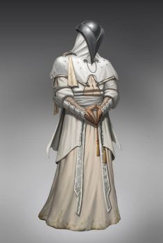 A white robed cultist by sir--render
