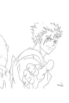 Laxus line art by Jexsical