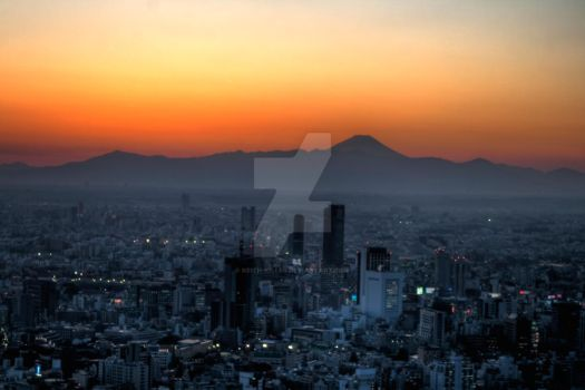 Sunset Fuji over Tokyo by Keith-Killer