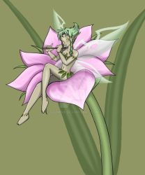 Anime Art | Nature Faerie playing Flute on Flower by Tazmaa