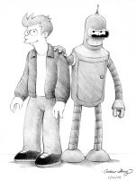 Futurama - Fry and Bender by silentsketcher