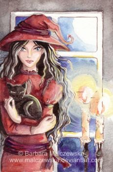 Witch and Cat by Malczewska