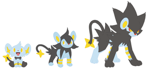 Shinx, Luxio and Luxray Base by SelenaEde