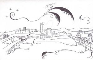 an old illustration of Portland (2008?) by ladywillowpdx