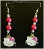 earrings of pearls hello kitty by lamu1976