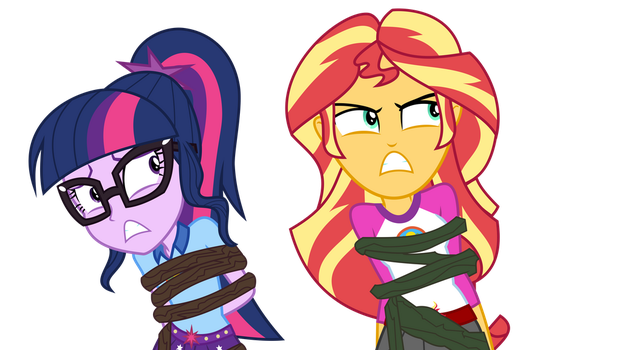 Twi and Sunset stuck by LimeDazzle