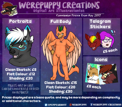 Price Sheet for May 2017 by Werepuppy
