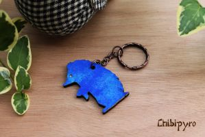 Wooden painted keychain hedgedog by ChibiPyro