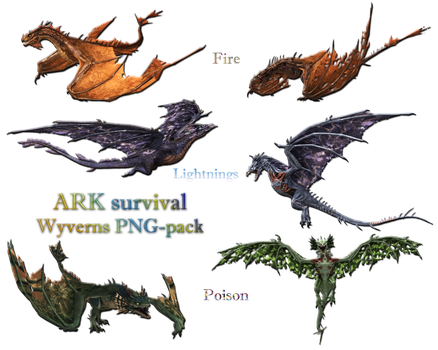 ARK survival: Wyverns pack (png xps mmd) by Tokami-Fuko