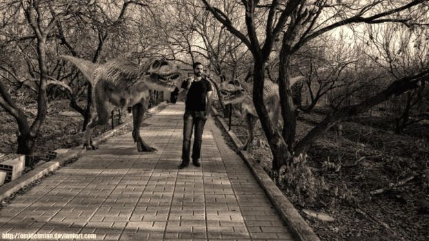 my friend and t rex :D by omidelmian