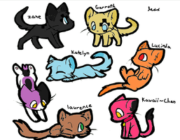 Aphmau's characters as cats by warrior--artist