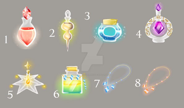 Potions and necklaces (OPEN) by SpringPeachAdopts