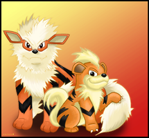 Growlithe and Arcanine