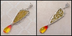 Lemon Drop celtic filigree pendant by thebluekraken