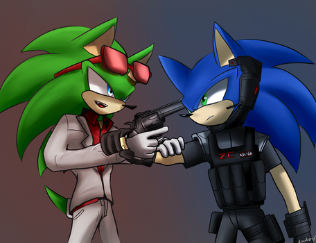 Scourge and Zonic by oLEEDUEOLo