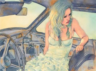 In a Car (watercolor illustration) by Trunnec