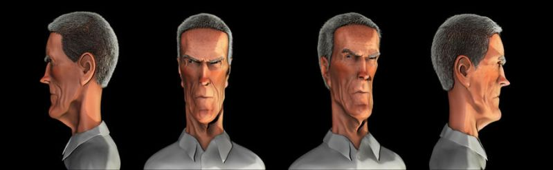 Clint Eastwood Zbrush caricature by yoeh