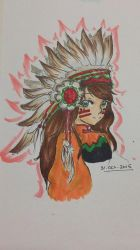 Late night doodle (red indian girl manga style) by cellesticca