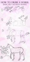 How to draw a horse: Basic shapes, detailed horse by AMillionLights