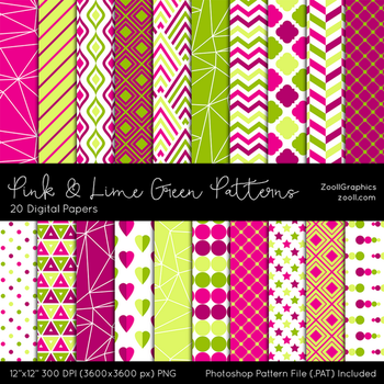 Pink And Lime Green Patterns by MysticEmma