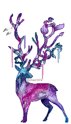Galaxy deer - animated pixel doll by Martith