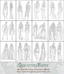 Coloring Pages - Ladies of the Months Fashions by AngelaSasser