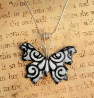 Black and White Hand Torched Enamel Butterfly by FusedElegance