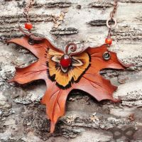 Fall Maple Leather Necklace by Beadmask