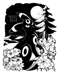 A Wild Umbreon Appeared! - INKTOBER 03 by TenmaRKO