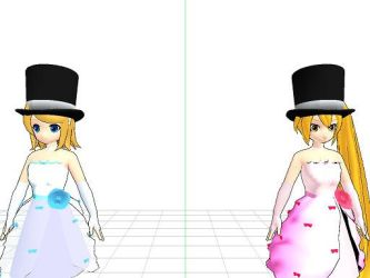 Neru and Rin with Top Hats by Charizard632
