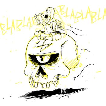 Witch Nun Riding a Floating Cyclop Skull by LeandroMassai