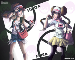 Fanart: Hilda and Rosa from Pokemon Black/White by avimHarZ