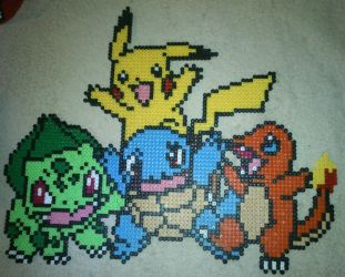 Starter-Pokemon from Kanto - Perler or Hama by Chrisbeeblack