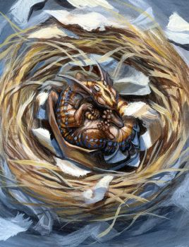 Dragon in its nest by hibbary