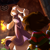 Frisk's first venture into the Underworld by Pomnoi