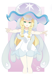 Lineart_Pokemon lillie and Nihilego by Orcaleon