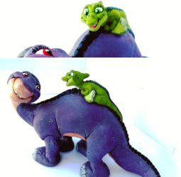 Littlefoot and Ducky commision  by RetroCharo