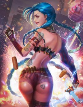 league legends jinx fan art by jiuge