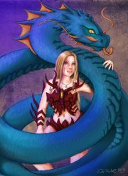 Andrea and her Water Dragon by RiehlART