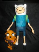 Needle Felted Finn and Jake by Cat by CatsFeltLings