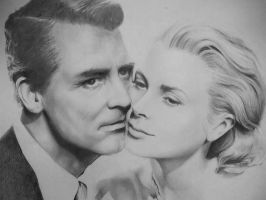 Cary Grant and Grace Kelly by EshiraArt