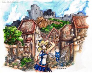 In the Old Town: Lucy Heartfilia and Happy by Laiden-Cerise