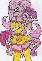 Mommy Fluttershy with Scootaloo (2) by CuddleLamb