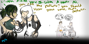 A sketchy Systemshock 2 and Portal 2 crossover by bloodwolf8