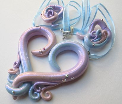 Pastel and glitter heart necklace and earrings by KTOctopus