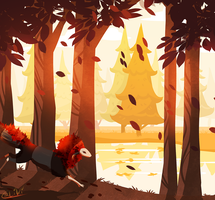 Red Leaves And Orange Rivers by Caliki