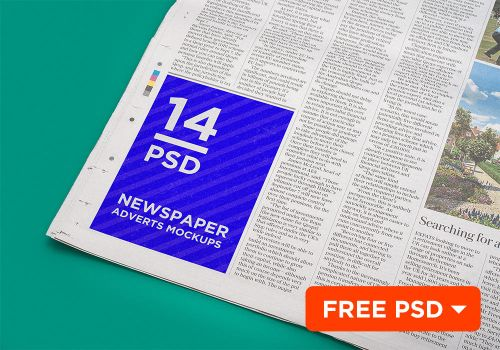 14 Newspaper Adverts Mockups by coloformia
