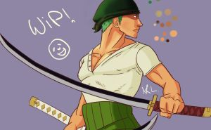 Roronoa Zoro - WIP by ChocOlive-Flamous