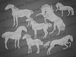 Equine Lineart pack by valachhim