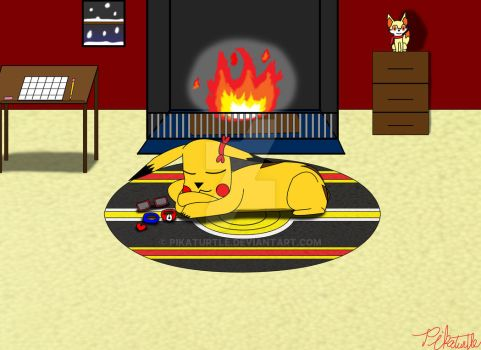 Sleeping by the Fireplace by Pikaturtle